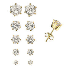 18K Gold over Silver Set of 5 Pairs Round CZ Studs Earrings in 5 Different Sizes