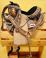 "14"" Leather Filigree Show Saddle Western Youth Headstall Breast Collar Black"