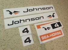 Johnson Sea Horse Outboard Motor Decal Kit 4 HP FREE SHIP + FREE Fish Decal!