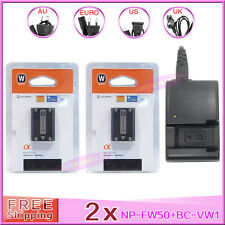 2 x NP-FW50 battery + BC-VW1 Charger For Sony NEX5 NEX3 NEX-3 NEX-5C A55 A33