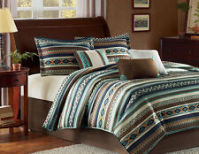 Southwest Turquoise Native American Queen Comforter Set (7 Piece Bed In A Bag)