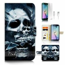 Samsung Galaxy ( S7 Edge ) Flip Wallet Case Cover P1631 Skull