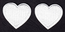 """LOT OF 2 WHITE HEARTS (1"""") - Iron On Embroidered Patch - Heart, Miniatures, Love"""