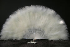 "MARABOU FEATHER FAN - IVORY Feathers 12"" x 20"" Burlesque/Wedding/Costume"