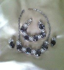 D & E Juliana Black Diamond & Crystal Rhinestone Necklace, Bracelet, Earring Set