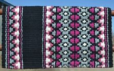 Mayatex Wool Show Saddle Blanket Pad 34x40 Black Fuschsia Pink Grey White THICK