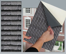 DOLLS HOUSE WALLPAPER No 56 Roof Tile Grey Slate 1:12 SELF STICK VINYL SEMI MATT