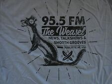 Gray NEW w/o tags 92.5 FM RADIO The Weasel Charlotte NC Made in USA t shirt 2XL