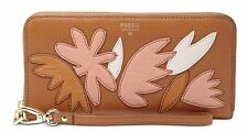 NWT Fossil Sydney Leather Zip Around Wallet Pink Floral