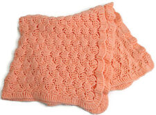 "Peach Crochet Baby Blanket Acrylic Shell Stitch 33"" x 33"" Scalloped Border"