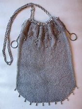 Antique Victorian Art Nouveau Silver T Draw String Ball Fine Mesh Purse #73