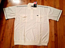 "Men's ""Spine"" Cream Knit Short Sleeve Collar Golf Polo Tee T-Shirt Shirt  XXXL"