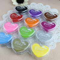 Heart Rubber Stamps Craft Pigment Ink Pad For Paper Wood Fabric 12 Colours Pick