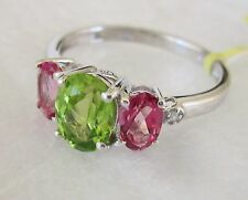 Peridot, Pink Topaz & White Topaz Ring in 925 Sterling Silver, size 6