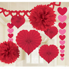 VALENTINES DAY PARTY RED PAPER HEART GIANT DECORATING ROOM HANGING 9 PIECE KIT