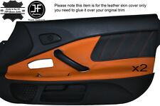 BLACK PERFORATED & ORANGE LEATHER 2X DOOR CARD TRIM COVER FITS HONDA S2000 04-09