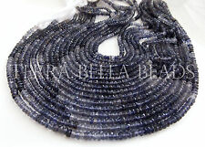 "13"" shaded blue AAA IOLITE faceted gem stone rondelle beads 4mm water sapphire"