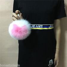 "6"" Bicolor White.Pink. Heart Charm Fox Fur Pompom Keyring Key chain bag Pompon"