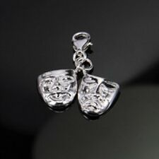 SILVER MASK FACES SUNNY AND SAD -3D-  CLIP ON CHARM FOR BRACELETS -S/PLATE -NEW