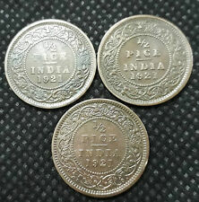 1921 British India 1/2 pice King George V, Bronze 3 Coins