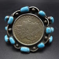 Vintage NAVAJO Coin Silver MORGAN DOLLAR & TURQUOISE Cluster Cuff BRACELET