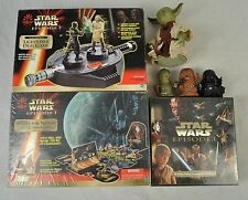 Star Wars 4 Game Lot Battle for Naboo Lightsaber Duel EP1 Card Game Yoda