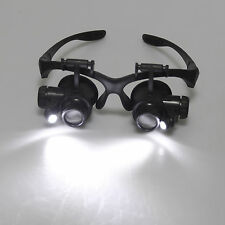 Magnifying Eye Magnifier Glasses Loupe 8 Lens Jeweler Watch Repair LED Light 25x