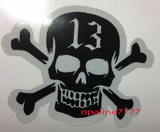 STICKER REFLECHISSANT TETE DE MORT 13 SKULL BIKER CASQUE MOTO SCOOTER SECURITE