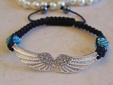 Crystal Shamballa Angel Wings Bracelet With Aqua Disco Balls.