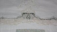 VTG CREAM EMBROIDERED LACE BUTTERFLY DESIGN VANITY DRESSER/END TABLE TABLECLOTHS