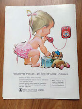 1962 Bell Telephone Ad Baby Betsy Bell  I Always Call Ahead
