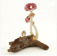 "5.25"" Owl w/ Red Mushroom Statue Miniature Fairy Garden Terrarium Dollhouse"