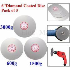3pcs 6'' Inch Grit 600# 1500# 3000# Diamond Coated Flat Lap Wheel Polishing Disc