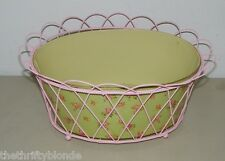 Pink Scalloped Wire Basket Storage Shabby Country Chic Roses Rose 15120 15 Inch