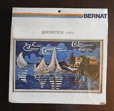 Bernat Calm Waters seascape Vintage quickstich kit needlepoint, original Pkg.