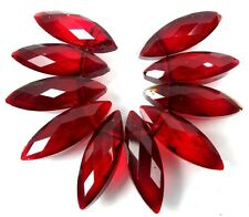 22x7mm Ruby Red Glass Quartz Faceted Marquise Drop Beads (10)
