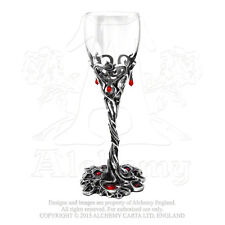 Alchemy Gothic Pewter Blood Red Swarovski Crystal Dracula Cup Wine Glass Goblet