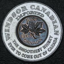 Windsor Canadian Imported Whiskey Encased Canada 1963 Penny - Nice