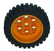 Missing Lego Brick 2696 Black Tyre 13 x 24 Model Team & 2695 MdOrange Wheel