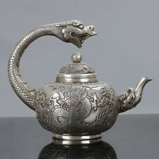 Old Chinese Tibet Silver Handwork Dragon Handle Teapot W Qianlong Mark C575