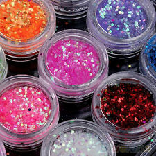 12 Color Funky UV Gel Acrylic DIY Glitter Decoration Nail Art Sequins Powder Set