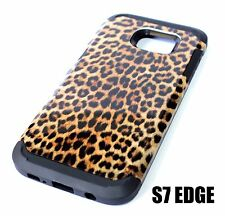 For Samsung Galaxy S7 Edge - SHOCKPROOF HYBRID ARMOR CASE BROWN LEOPARD CHEETAH