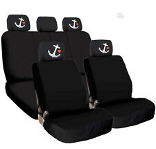 New Black Cloth Car Seat Covers Embroidery Anchor Headrest Cover for VW