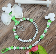 Set of 2 Personalised stunning mickey mouse dummy clip + Pram charm in green