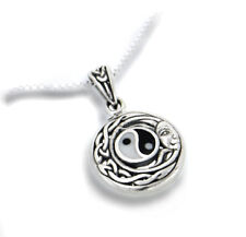 "Flowing Sun Yin-Yang Celtic Knot Pendant Sterling Silver 18"" Chain Necklace"