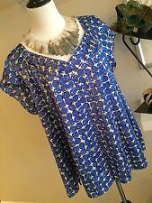 Nine West Cobalt Blue & White Patterned Silk Blouse - Plus 22W - EUC