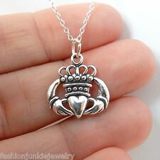 Claddagh Charm Necklace - 925 Sterling Silver Love Loyalty Friendship NEW Irish