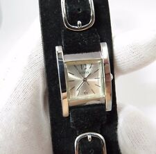 "GUESS, ""Vintage"", Wide Leather Blk Band, Square Analog Quartz Unisex Watch 178"