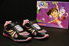 NEW Girls Shoes 11 Dora the Explorer Lightweight Sneakers Black Pink - Girls 11