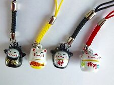 4 CHINESE BLACK & WHITE LUCKY CAT PHONE HANDBAG KEYRING CHARM NEW YEAR PARTY